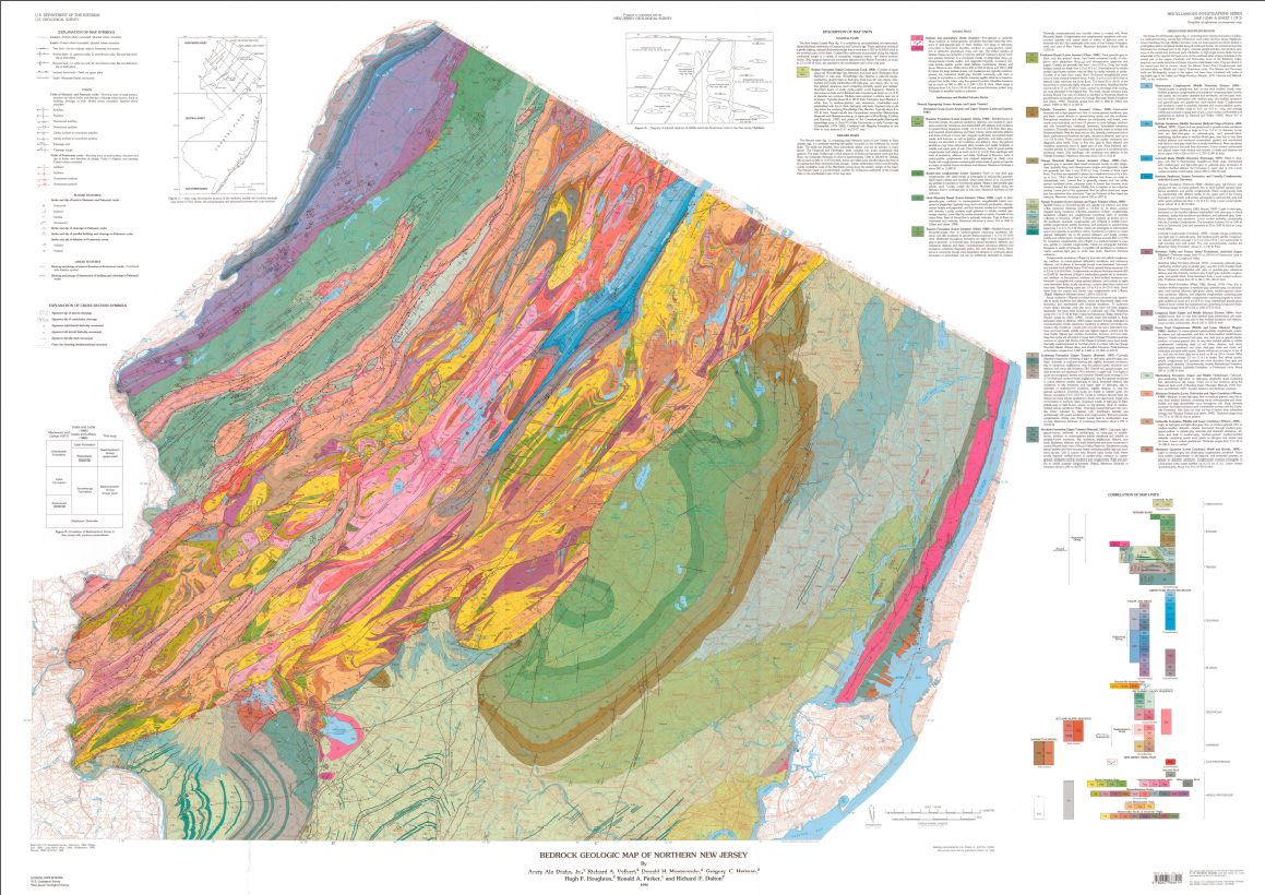 Usgs Geologic Maps Bedrock geologic map of northern New Jersey