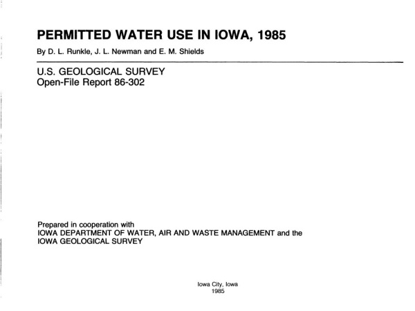 Permitted water use in Iowa, 1985