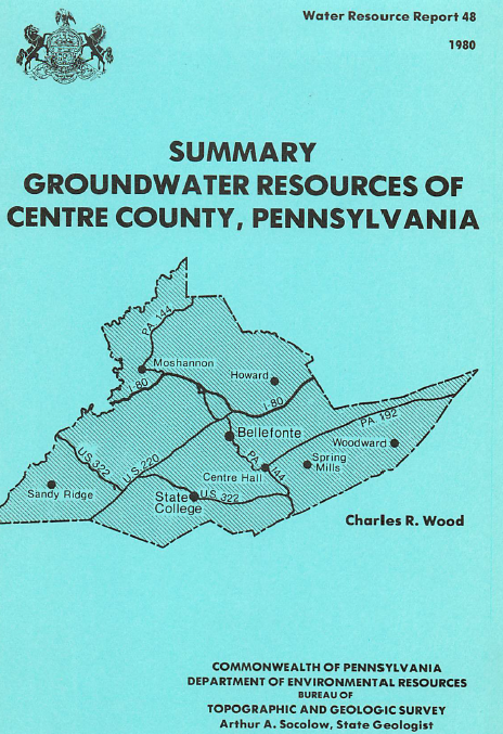 Summary groundwater resources of Centre County, Pennsylvania