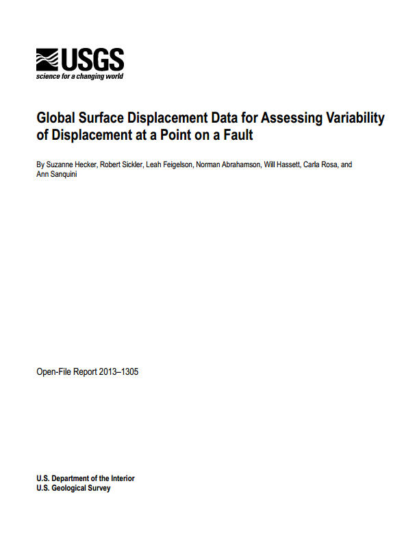 Global surface displacement data for assessing variability of displacement at a point on a fault