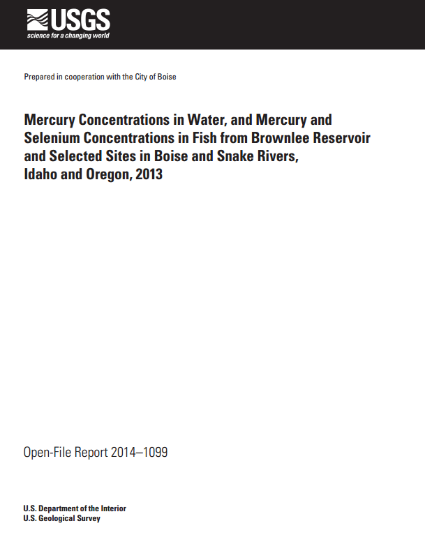 Mercury concentrations in water and mercury and selenium for Brownlee reservoir fishing report