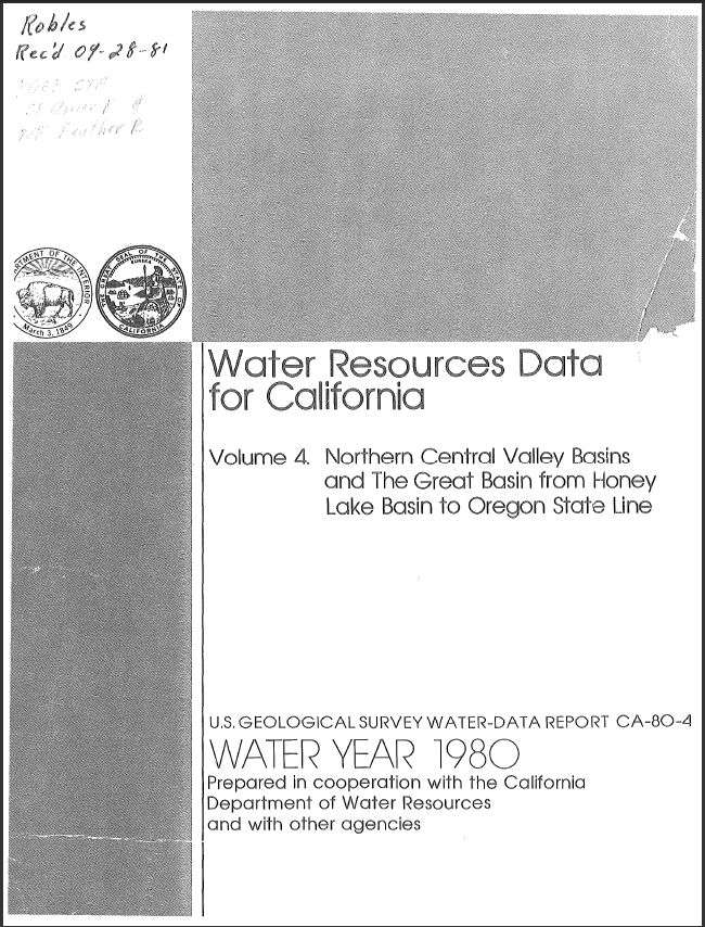 Water resources data for California, water year 1980; Volume 4, Northern Central Valley basins and the Great Basin from Honey Lake basin to Oregon state line
